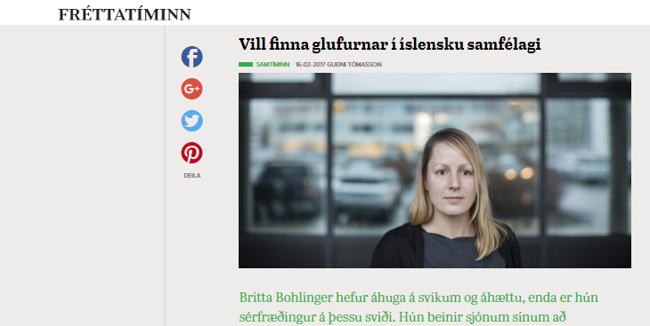 Translated: my interview in an Icelandic newspaper