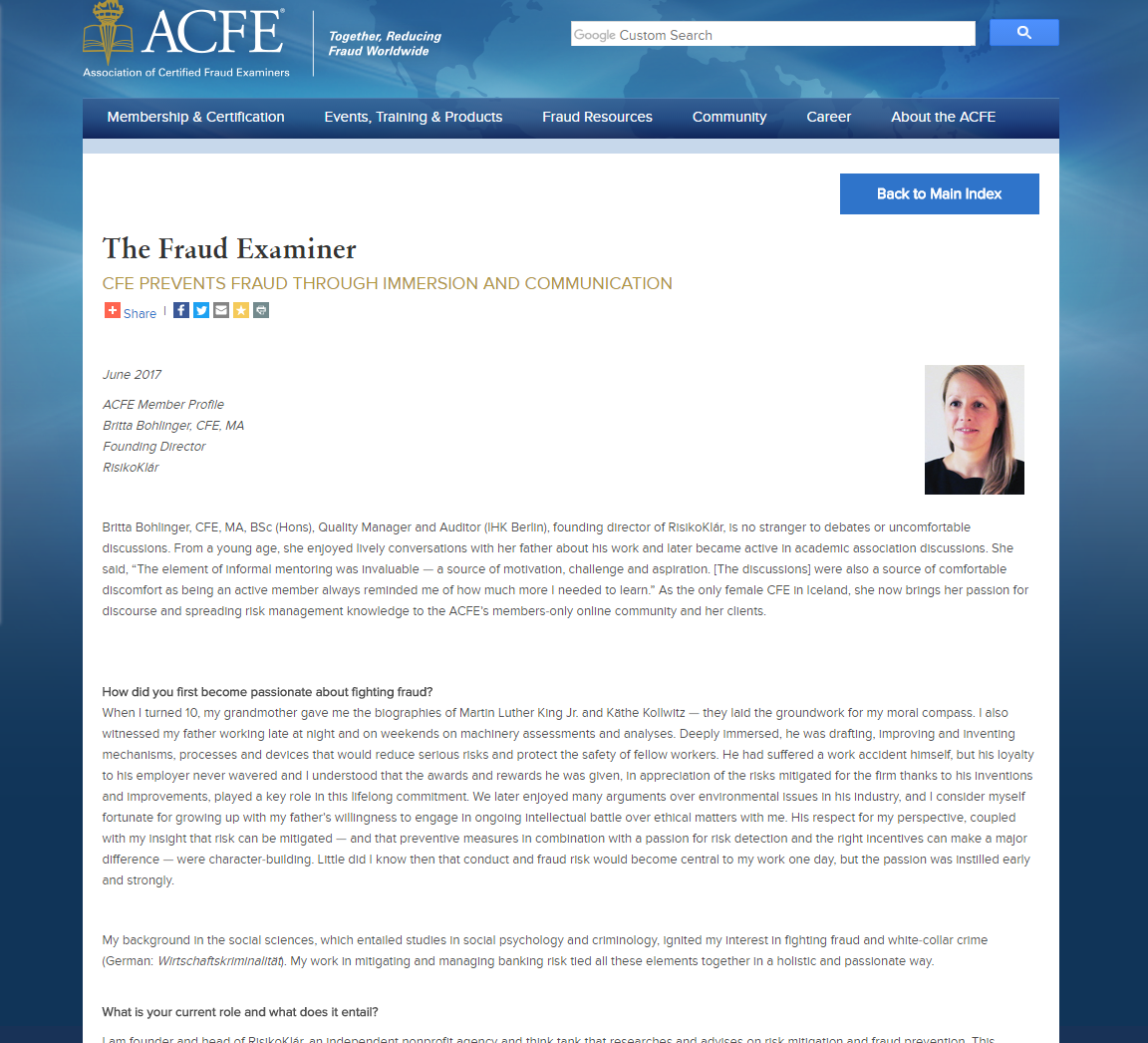 My interview with the ACFE